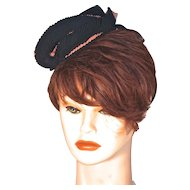 VALERIE MODES - Bell Hop Pillbox Hat -  Pink & Black Silk Trim