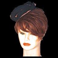 VALERIE MODES - Bell Hop Pillbox Hat -  Pink & Black Silk Trim