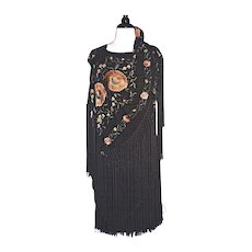 FLAPPER DRESS 1910 Chinese Silk Piano Shawl - Hand Knotted Fringe - Hand Embroidered