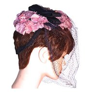 SUFFRAGETTE HAT - Pink Fabric Flowers on Black - Matching Bow & Veil