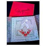SCHIAPARELLI  Swiss Embroidered Handkerchiefs - Original Box of 3 - Unused