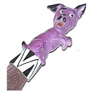 SCHNEIDER 1920s - Rare Pink Scotty Dog Clothes/Hat Brush