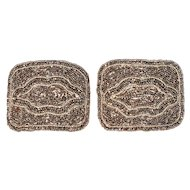 French Victorian Cut-Steel Micro Bead Shoe Buckles/Clips (pair)