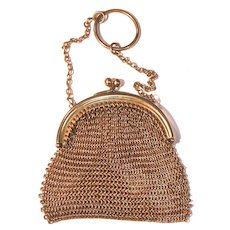 DIME-A-DANCE MESH PURSE with Finger Ring - Gold Wash/Tone Chain