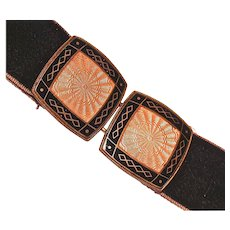 GUILLOCHE Pink & Black Machined Enamel Belt Buckle - Czech
