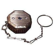 Edwardian Pill/Patch Box - 14 Karat Gold - Diamonds & Sapphire
