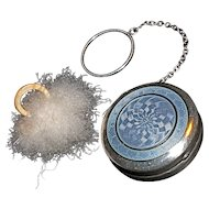 NUSSBAUM & HUNOLD - Blue Guilloche on Sterling Patch Box/Compact on Finger Chain