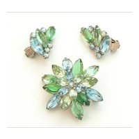 Alice Caviness Rhinestone Brooch and Earring Set
