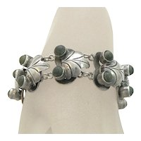 Silver Mexican Frog Bracelet with Green Stones