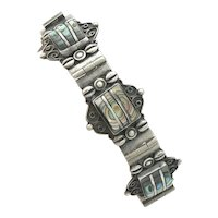 Mexican Sterling Abalone Inlaid Bracelet Signed Iguala
