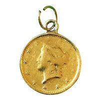 18K Gold Simulated Liberty Head Coin Charm