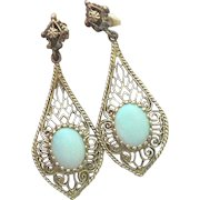 14K Gold Filigree Opal Pendant Earrings