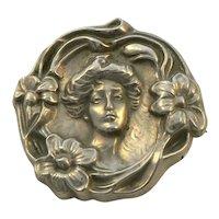 Art Nouveau Sterling Silver Lady Figural Repousse Brooch