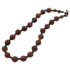 Fiery Deep Orange Venetian Glass Bead Necklace