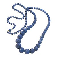 Long Strand of Lapis Glass Beads