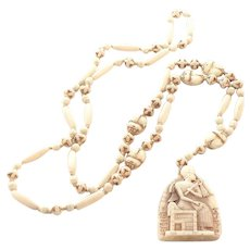 Max Neiger Art Deco Egyptian Revival Glass Bead Pendant Necklace