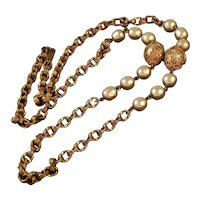 Miriam Haskell Faux Baroque Pearl Chain Necklace