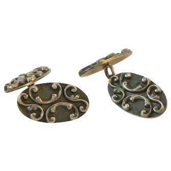 Art Nouveau Sterling Silver Cufflinks by S.M. Lewis and Co.