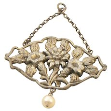 Arts and Crafts Style Silver Pendant with Baroque Pearl