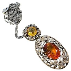 Citrine Arts and Crafts Sterling Silver Pendant Necklace