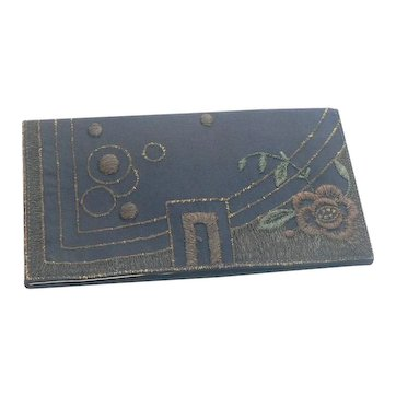 Art Deco Embroidered Silk and Kid Clutch Purse