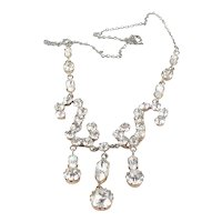 Pretty Paste Foil Backed Three Drop Necklace England