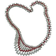 Jakob Bengel Machine Age Chrome and Red Art Deco Necklace