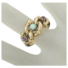 Victorian 18K Rubies and Opal Love Knot Ring