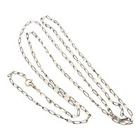 Victorian English Niello Silver Rose Gold Gilt Long Guard Chain