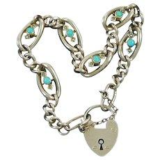 9 Carat Gold Edwardian Gate Bracelet Turquoise Seed Pearls Birmingham 1902