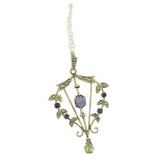 9 Carat Gold Lavalier Amethyst Peridot Seed Pearls Suffragette