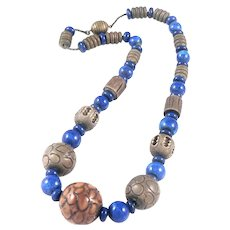 French Art Deco Glass Ceramic and Celluloid Necklace