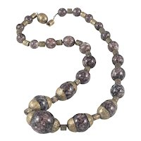 Art Deco French Glass Bead and Brass Necklace on Chain