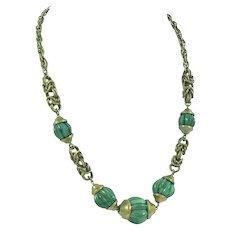 Jakob Bengel Art Deco Machine Age Glass Bead and Brass Necklace