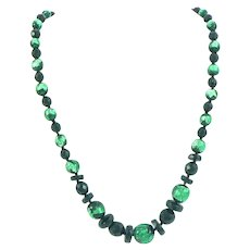 Venetian Foiled Glass and Black Faceted Bead Necklace