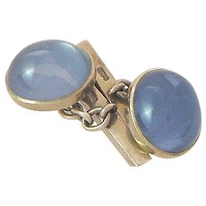 Lab Created Star Sapphire Cufflinks 9 Carat Gold D. Quilley & Sons London 1963