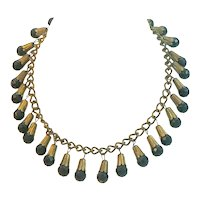 Black Glass and Brass 1940s Necklace