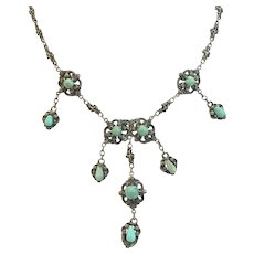 Austro Hungarian Persian Turquoise and Silver Necklace