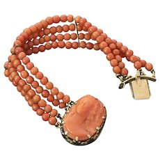 Victorian Coral Cameo on 14K Gold Coral Beaded Bracelet