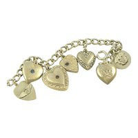 Sterling Puffy Heart Bracelet Military Charms