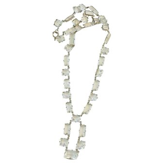 Art Deco Crystal Necklace Silver Plated