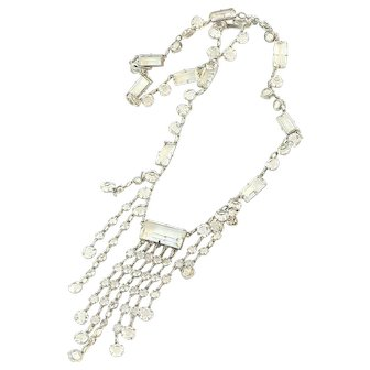 Art Deco Crystal Fringe Necklace Sterling Silver