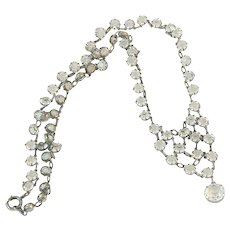 Art Deco Sterling Silver Crystal Drop Necklace