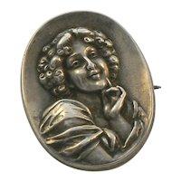 Art Nouveau Sterling Figural Portrait Brooch by William Link