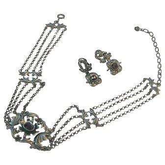 Austrian 835 Silver and Garnet Gothic Choker Necklace and Earring Set