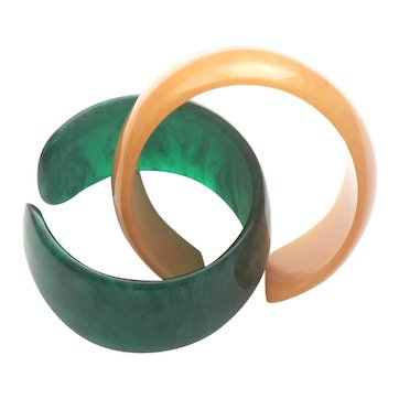 Two French Plastic Translucent Bangle Cuffs