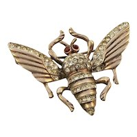 Sterling Silver Gold Vermeil Paste Bee Insect Brooch