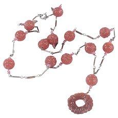 Art Deco Molded Carnelian Glass Pendant Necklace