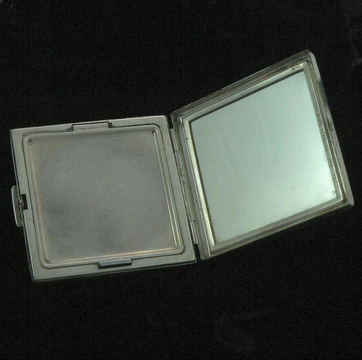 c23fc921b Tiffany Art Deco Compact and Lipstick Sterling Silver 14K Gold Sapphires  Original Leather Cases
