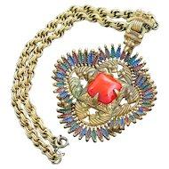 Castlecliff Pendant Necklace Coral Glass Enamel Larry Vrba Design